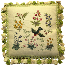 Bird and Flowers Needlepoint Pillow