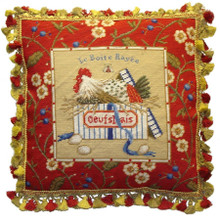 Rooster in Box Needlepoint Pillow