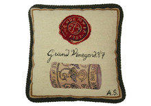 Wine Cork and Seal Needlepoint Pillow