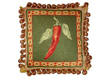 Chili Pepper Needlepoint Pillow