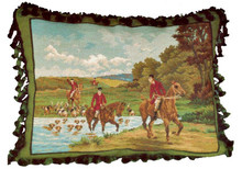 Horse Hunt Needlepoint Pillow 2