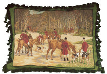 Horse Hunt Needlepoint Pillow