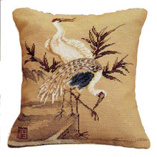 Crane Needlepoint Pillow