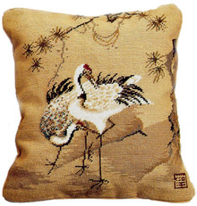 Crane with Pine Needlepoint Pillow