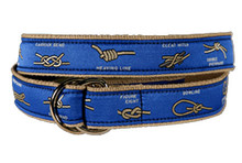 Nautical Knots Ribbon Belt on Blue (D-Ring)
