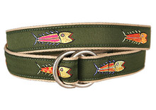 Fish Ribbon Belt on Olive (O-Rings)