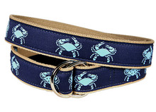 Blue Crab Ribbon Belt on Navy (D-Ring)