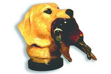 Yellow Lab Head with Pheasant Hood Ornament (Enamel Finish)