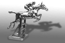 Aintree Racehorse over Rails Hood Ornament (Large)