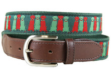 three wise labs on green holiday ribbon collar