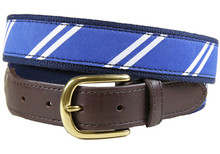 rep stripe tab ribbon belt blue & White