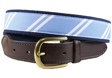 rep stripe tab belt light blue and white