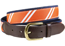 rep stripe ribbon tab belt orange & white