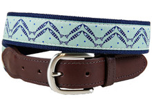 Herringbone Fish Ribbon Belt Leather Tab on Green