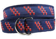 Red Cup Stripe ribbon belt d-ring