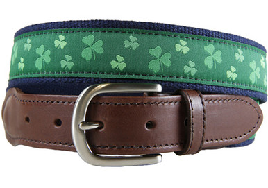 shamrock ribbon belt with leather tab