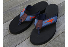 blood orange shark flip flops