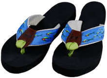 School of Fish Flip Flops with Natural Colored Cotton Webbing