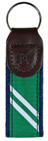 Collegiate Stripe Green and White Key Fob
