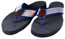 Lacrosse Sticks on Blue Flip Flops