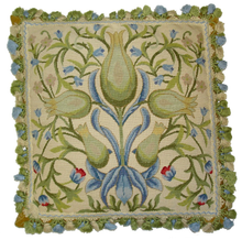 Green Floral Needlepoint Pillow