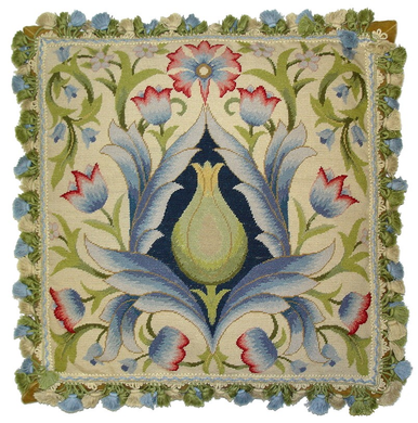 Green Floral Needlepoint Pillow II