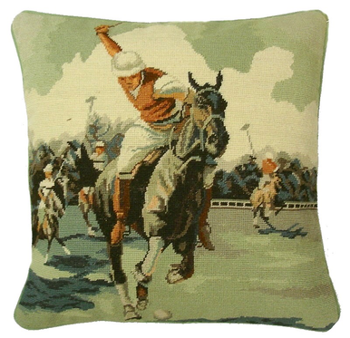 Polo Player Needlepoint Pillow
