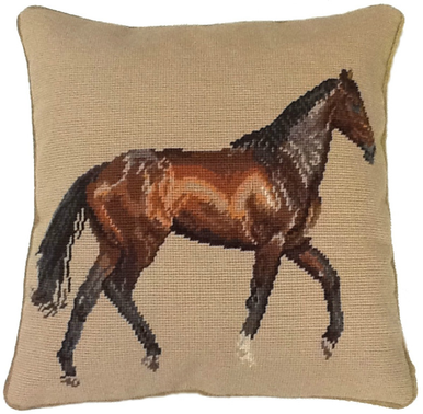 Brown Horse Needlepoint Pillow II