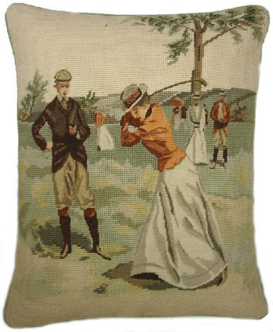 Golf Swing Needlepoint Pillow