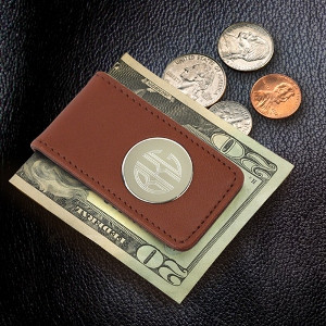 Personalized Brown Leather Anniversary Money Clip