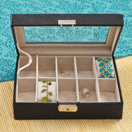 Personalized black leather jewelry box, perfect for your wife's Anniversary Gift.