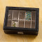 Top of personalized black leather jewelry box