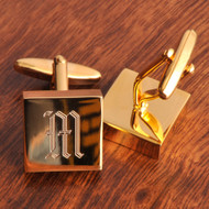 Brass Cufflinks personalized with an initial