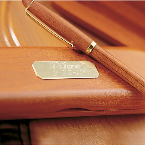 Rosewood and brass pen, with a personalized Rosewood box.