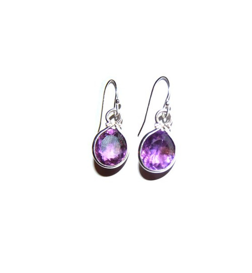 6th Anniversary - Sterling silver and Amethyst drop earrings