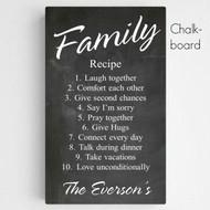 Personalized Family Recipe Canvas in Chalkboard