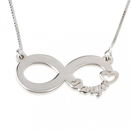 Personalized infinity heart silver necklace