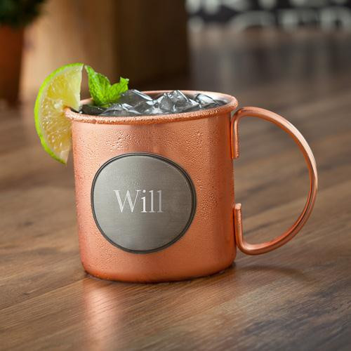 Personalized Copper Moscow Mule Mug with pewter decoration