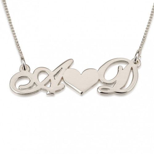 14K White Gold heart and initial necklace