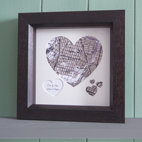 Personalized Heart map of your favorite place framed in dark wood
