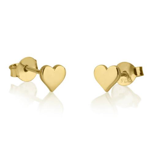 Engraved gold heart stud earrings