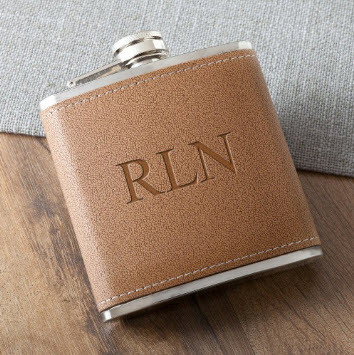 Customized tan hide anniversary flask