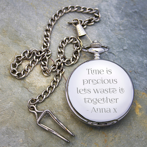 Silver Wedding Anniversary Gifts For Him: Personalized Anniversary Pocket Watch
