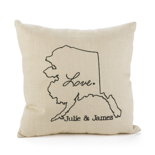 Romantic Anniversary Pillow personalized with your State and your names.