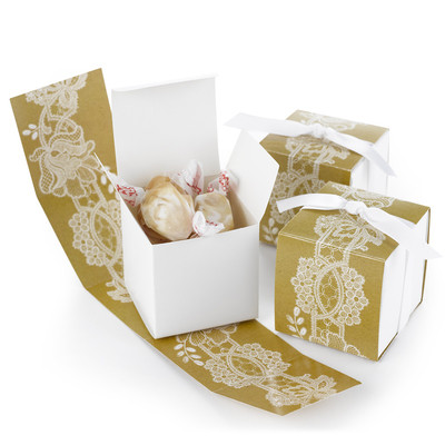 Gold Anniversary Lace Favor Boxes