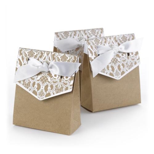 Silver lace favor boxes