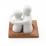 Personalized Hugging Couple Ceramic Salt and Pepper Set
