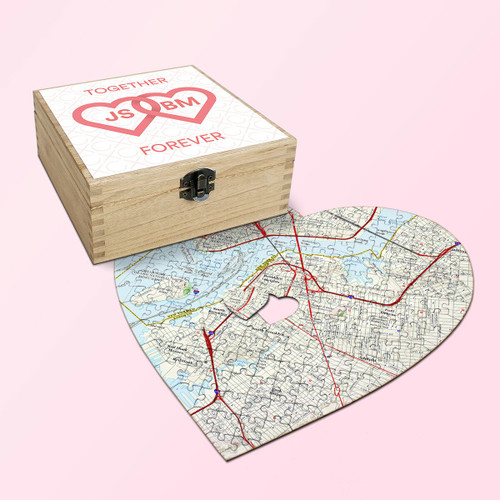 Heart shaped personalized couples jigsaw puzzle with wooden keepsake box