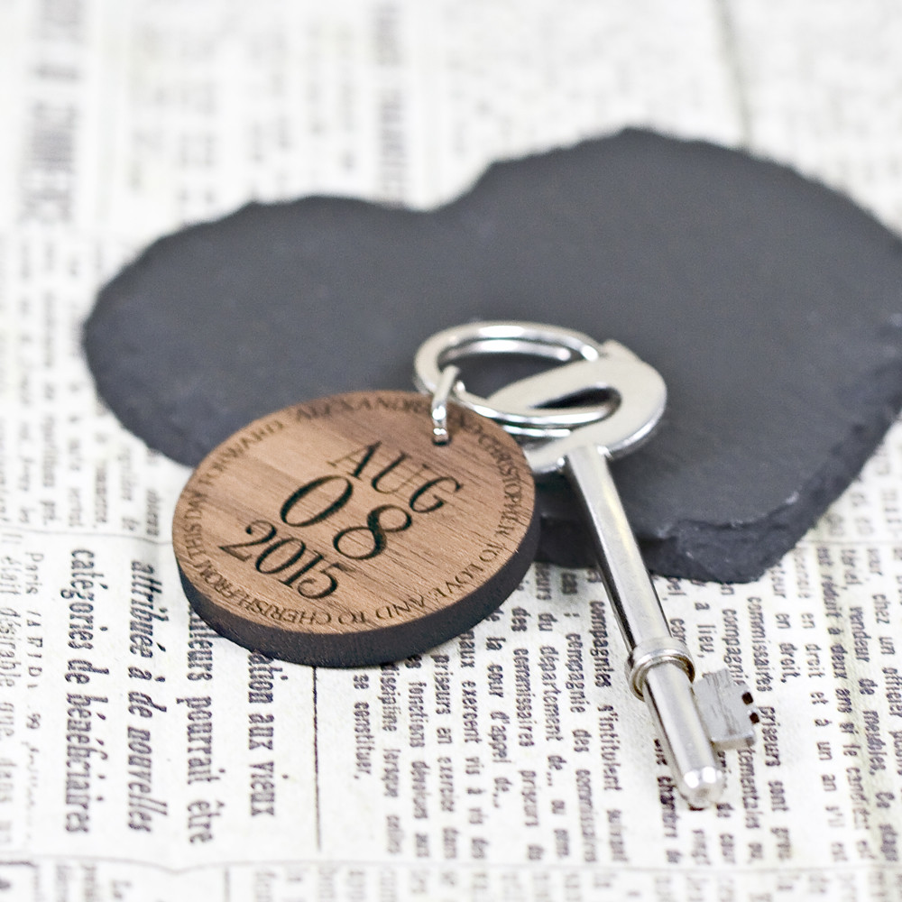 Special Date Wooden Anniversary Keychain