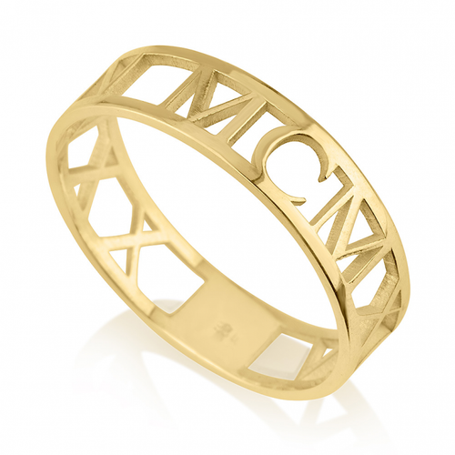 14K Gold Anniversary Date Ring